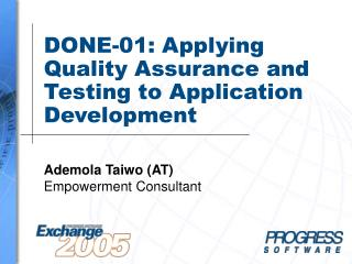 DONE-01: Applying Quality Assurance and Testing to Application Development