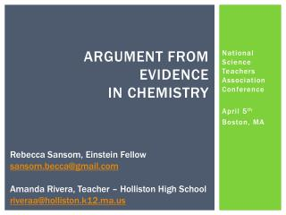Argument from Evidence  in Chemistry