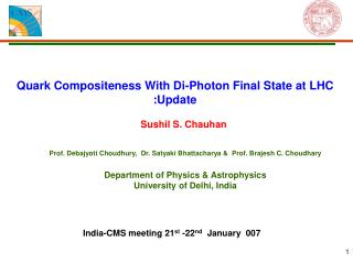 Quark Compositeness With Di-Photon Final State at LHC :Update