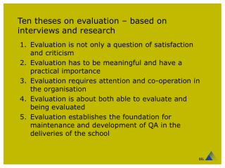 Ten theses on evaluation – based on interviews and research