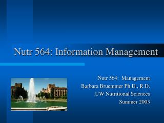 Nutr 564: Information Management