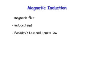 Magnetic Induction