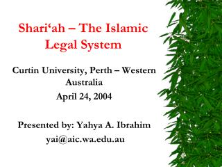 Shari'ah – The Islamic Legal System