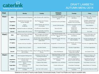 DRAFT LAMBETH  AUTUMN MENU 2014
