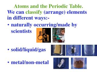 Atoms and the Periodic Table.