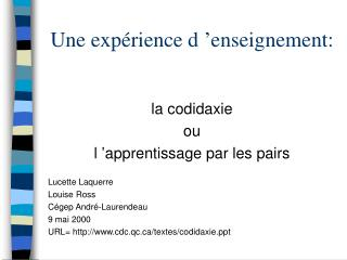 Une expérience d'enseignement: