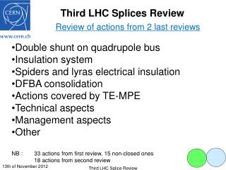 Third LHC Splices Review