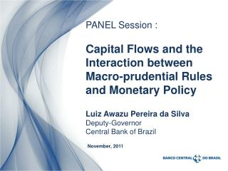 Luiz  Awazu  Pereira da Silva Deputy-Governor  Central Bank of Brazil