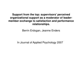 In Journal of Applied Psychology 2007