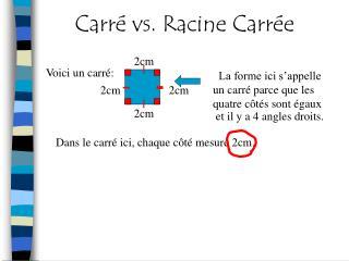 Carré vs. Racine Carrée