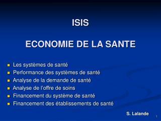 ISIS ECONOMIE DE LA SANTE
