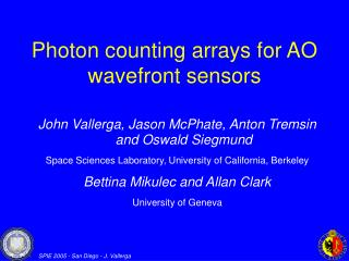 Photon counting arrays for AO wavefront sensors