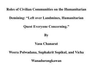 Roles of Civilian Communities on the Humanitarian