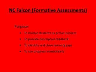 NC Falcon (Formative Assessments)
