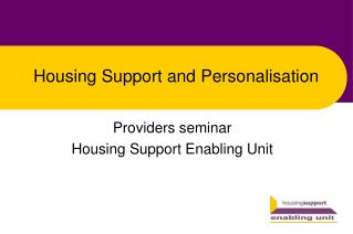 Housing Support and Personalisation
