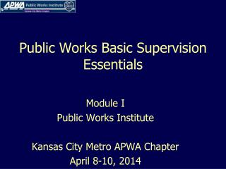 Public Works Basic Supervision Essentials