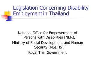 Legislation Concerning Disability Employment in Thailand