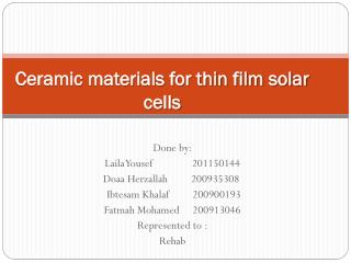 Ceramic materials for thin film solar  cells