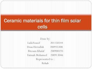 Ceramic materials for thin film solar  cells