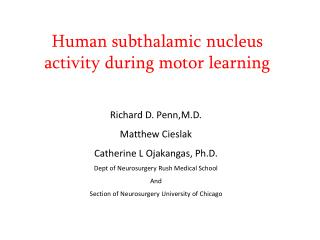 Human subthalamic nucleus activity during motor learning