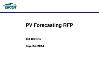 PV Forecasting RFP