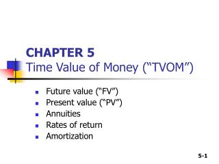 """CHAPTER 5 Time Value of Money (""""TVOM"""")"""