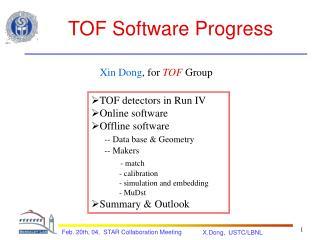 TOF Software Progress