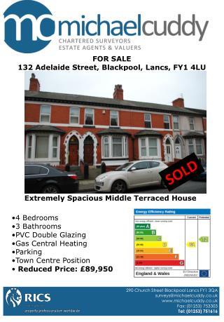 FOR SALE 132 Adelaide Street, Blackpool, Lancs, FY1 4LU