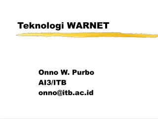 Teknologi WARNET