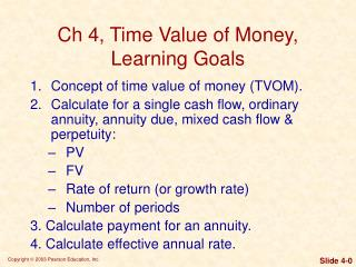 Ch 4, Time Value of Money, Learning Goals