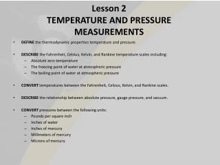 Lesson 2 TEMPERATURE AND PRESSURE MEASUREMENTS