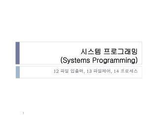 시스템 프로그래밍 (Systems Programming)