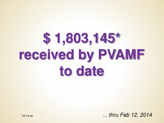 $  1,803,145* received by PVAMF to date