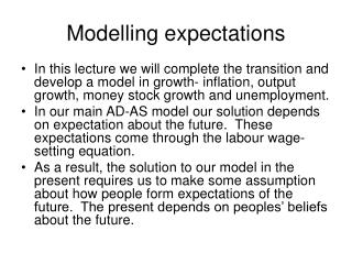 Modelling expectations