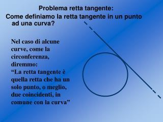 Problema retta tangente: Come definiamo la retta tangente in un punto ad una curva?