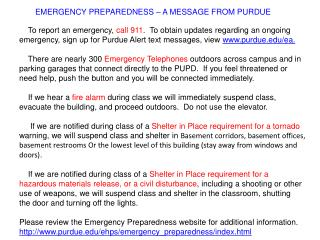EMERGENCY PREPAREDNESS – A MESSAGE FROM PURDUE