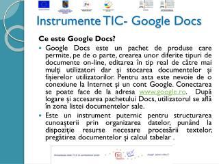 Instrumente  TIC-  Google Docs