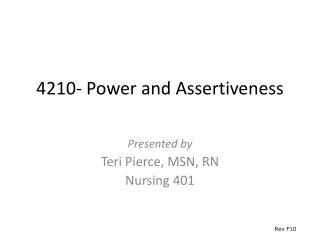 4210- Power and Assertiveness