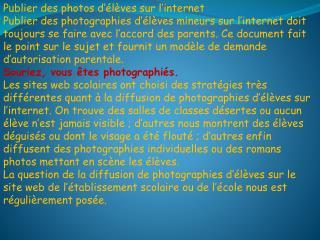 Publier des photos d��l�ves sur l�internet