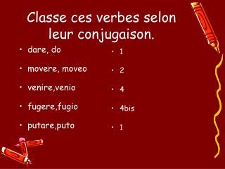 Classe ces verbes selon leur conjugaison.
