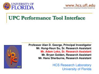 UPC Performance Tool Interface