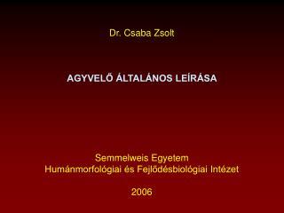 Dr. Csaba Zsolt AGYVELŐ ÁLTALÁNOS LEÍRÁSA  Semmelweis Egyetem
