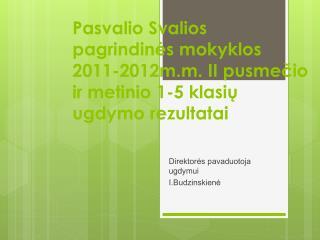 Direktorės pavaduotoja ugdymui I.Budzinskienė