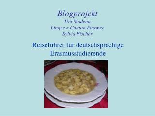 Blogprojekt  Uni Modena  Lingue e Culture Europee Sylvia Fischer