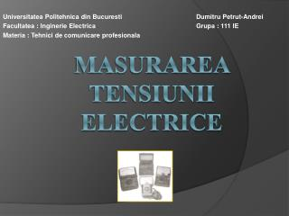Masurarea tensiunii  electrice