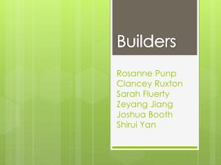 Rosanne  Punp Clancey Ruxton Sarah  Fluerty Zeyang  Jiang  Joshua Booth  Shirui  Yan