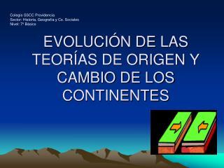 EVOLUCIÓN DE LAS TEORÍAS DE ORIGEN Y CAMBIO DE LOS CONTINENTES