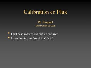 Calibration en Flux