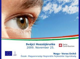 Svájci Hozzájárulás  2009. November 25. Nagy- Veres Enikő