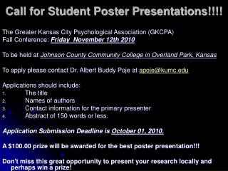Call for Student Poster Presentations!!!!
